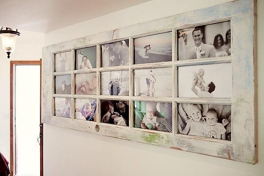 porte transformée en cadre photos fait à la main